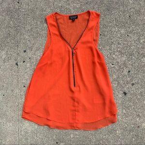 ❤️ Orange TOPSHOP Sleeveless Blouse w/ Zipper 10